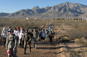 The 19th Annual Bataan Memorial Death March paid tribute the men who died as well as those who survived death march and captivity during World Warr II March 30 at White Sands Missile Range, N.M. More than 4,400 military men and wormen from 50 states, territories and from around the world parcitipated in the 19th annual event. (U.S. Air Force photo/Greg Allen)